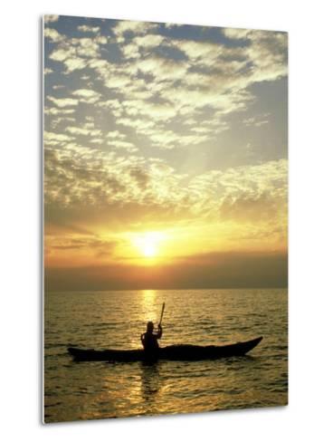 Sea Kayaker at Sunset, Greece-Paul Franklin-Metal Print