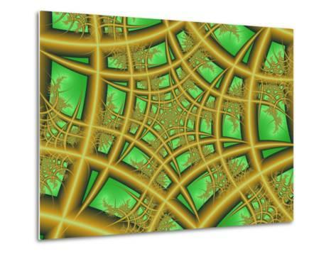 Abstract Web-Like Fractal Patterns on Green Background-Albert Klein-Metal Print