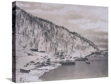 Construction of the Transiberian Railway Around Lake Baikal--Stretched Canvas Print