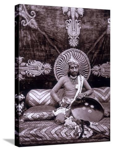 Self-Portrait of the Maharajah Ram Singh III, in the Royal Palace of Jaipur, India--Stretched Canvas Print