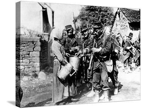 A Group of French Soldiers, They Quench Their Thirst in a Village of the Belgian Border--Stretched Canvas Print