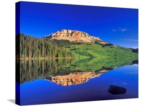Reflection of Beartooth Butte into Beartooth Lake, Wyoming, USA-Chuck Haney-Stretched Canvas Print