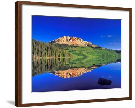 Reflection of Beartooth Butte into Beartooth Lake, Wyoming, USA-Chuck Haney-Framed Art Print