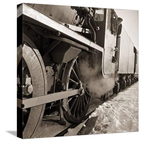 The Wheels of a Steam Train as It Travels from Perth Northwards to the Forres in Morayshire--Stretched Canvas Print