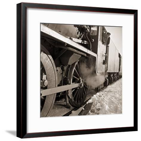 The Wheels of a Steam Train as It Travels from Perth Northwards to the Forres in Morayshire--Framed Art Print
