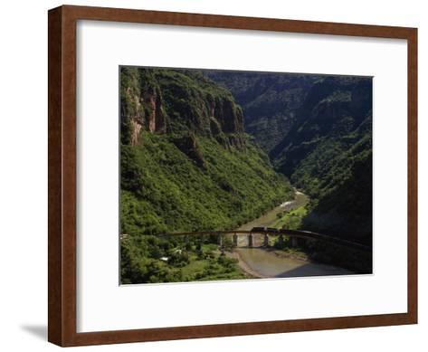 Train Crosses a Bridge at Temoris in Mexico's Copper Canyon Region, Chihuahua State, Mexico-Phil Schermeister-Framed Art Print