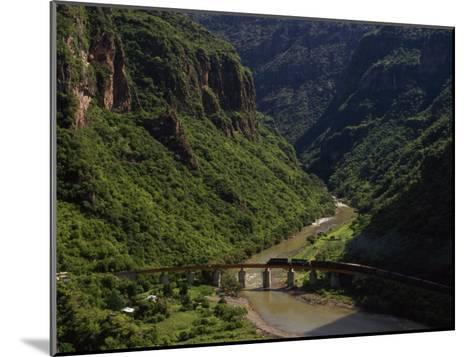 Train Crosses a Bridge at Temoris in Mexico's Copper Canyon Region, Chihuahua State, Mexico-Phil Schermeister-Mounted Photographic Print
