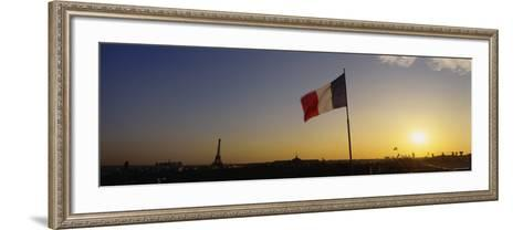 French Flag Waving in the Wind, Paris, France--Framed Art Print