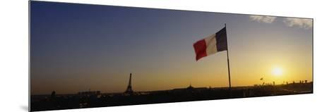 French Flag Waving in the Wind, Paris, France--Mounted Photographic Print