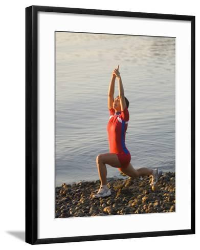 Woman Practicing Yoga on the Riverside, Bainbridge Island, Washington State, USA--Framed Art Print