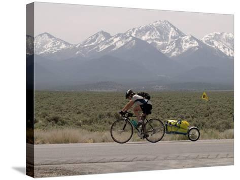 Cross-Country Bicyclist, US Hwy 50, Toiyabe Range, Great Basin, Nevada, USA-Scott T^ Smith-Stretched Canvas Print