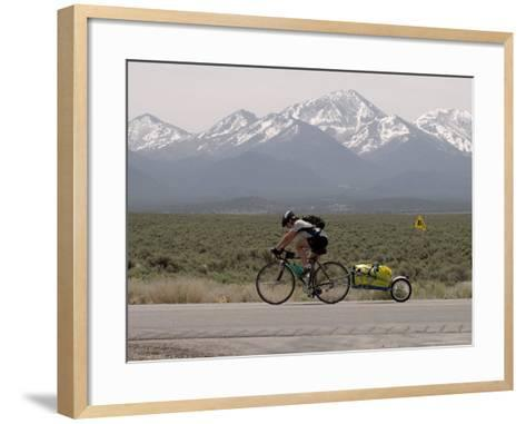 Cross-Country Bicyclist, US Hwy 50, Toiyabe Range, Great Basin, Nevada, USA-Scott T^ Smith-Framed Art Print