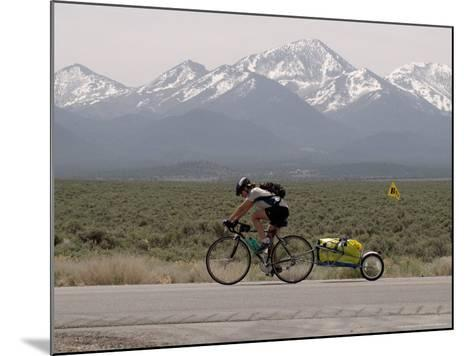 Cross-Country Bicyclist, US Hwy 50, Toiyabe Range, Great Basin, Nevada, USA-Scott T^ Smith-Mounted Photographic Print