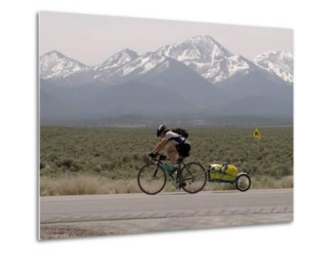 Cross-Country Bicyclist, US Hwy 50, Toiyabe Range, Great Basin, Nevada, USA-Scott T^ Smith-Metal Print