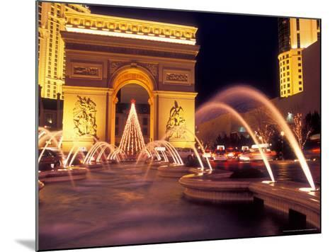 Paris Hotel and Casino Fountains in Front of L'Arc de Triumph Replica, Las Vegas, Nevada, USA-Brent Bergherm-Mounted Photographic Print