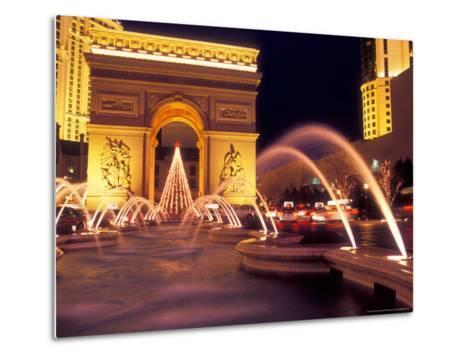 Paris Hotel and Casino Fountains in Front of L'Arc de Triumph Replica, Las Vegas, Nevada, USA-Brent Bergherm-Metal Print