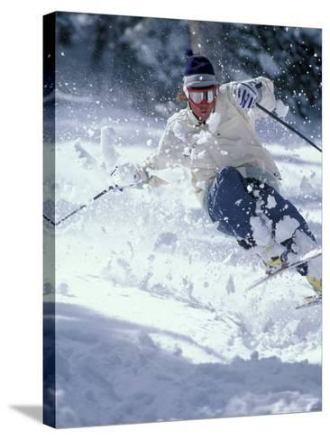 Skiing in Taos, New Mexico, USA-Lee Kopfler-Stretched Canvas Print