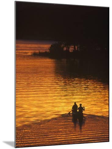 Canoers on Lake Metigoshe at Sunset, North Dakota, USA-Chuck Haney-Mounted Photographic Print