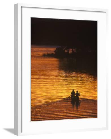 Canoers on Lake Metigoshe at Sunset, North Dakota, USA-Chuck Haney-Framed Art Print