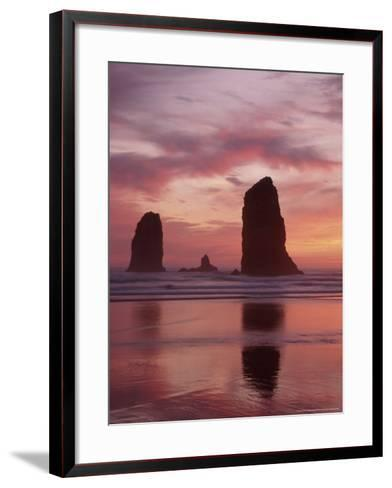 Needles at Sunset along the Coastline, Cannon Beach, Oregon, USA-Darrell Gulin-Framed Art Print