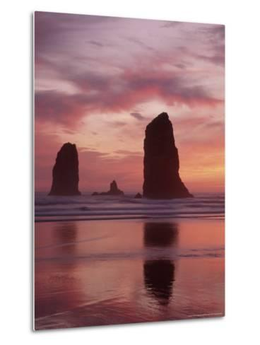 Needles at Sunset along the Coastline, Cannon Beach, Oregon, USA-Darrell Gulin-Metal Print