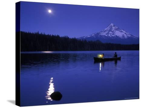 Boys in Canoe on Lost Lake with Mt Hood in the Distance, Mt Hood National Forest, Oregon, USA-Janis Miglavs-Stretched Canvas Print