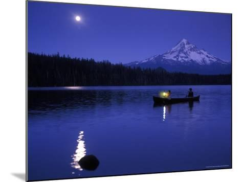 Boys in Canoe on Lost Lake with Mt Hood in the Distance, Mt Hood National Forest, Oregon, USA-Janis Miglavs-Mounted Photographic Print
