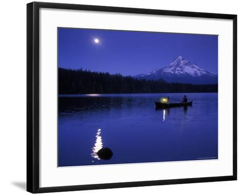 Boys in Canoe on Lost Lake with Mt Hood in the Distance, Mt Hood National Forest, Oregon, USA-Janis Miglavs-Framed Art Print