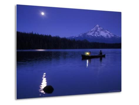 Boys in Canoe on Lost Lake with Mt Hood in the Distance, Mt Hood National Forest, Oregon, USA-Janis Miglavs-Metal Print