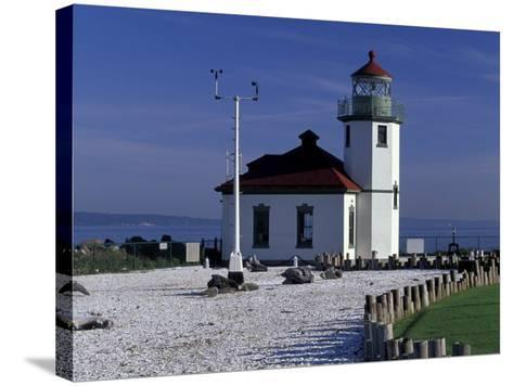 Alki Point Lighthouse on Elliot Bay, Seattle, Washington, USA--Stretched Canvas Print