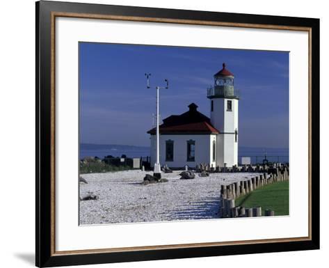 Alki Point Lighthouse on Elliot Bay, Seattle, Washington, USA--Framed Art Print