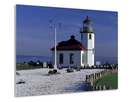 Alki Point Lighthouse on Elliot Bay, Seattle, Washington, USA--Metal Print