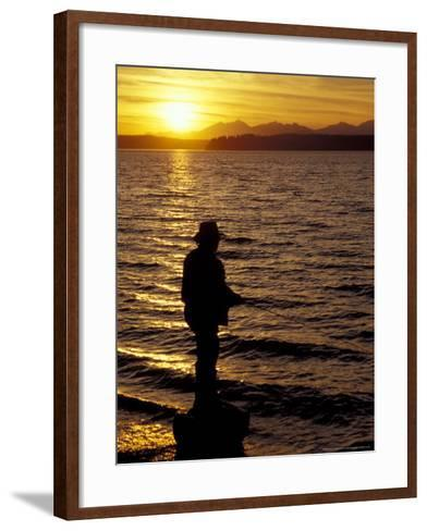 Silhouette of Fisherman at Lincoln Park, Seattle, Washington, USA-William Sutton-Framed Art Print