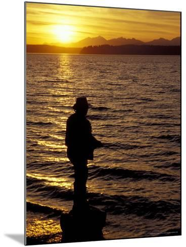 Silhouette of Fisherman at Lincoln Park, Seattle, Washington, USA-William Sutton-Mounted Photographic Print