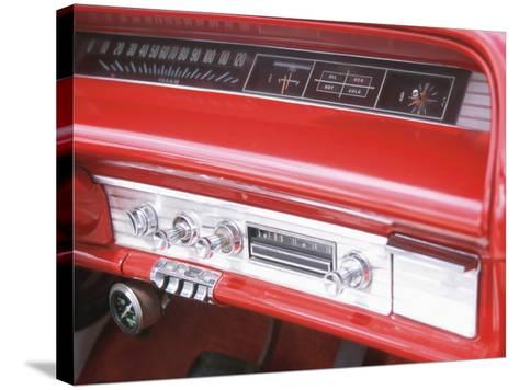 Vintage Red Dashboard of Car--Stretched Canvas Print