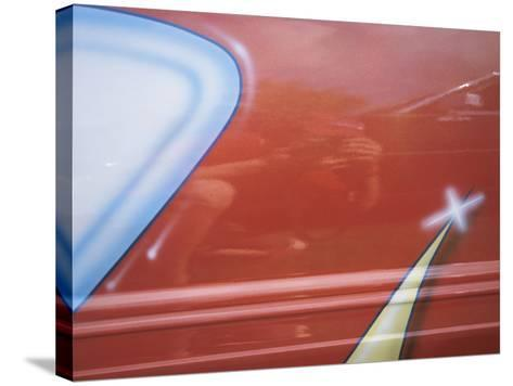 Painted Decoration on Sporty Red Car--Stretched Canvas Print