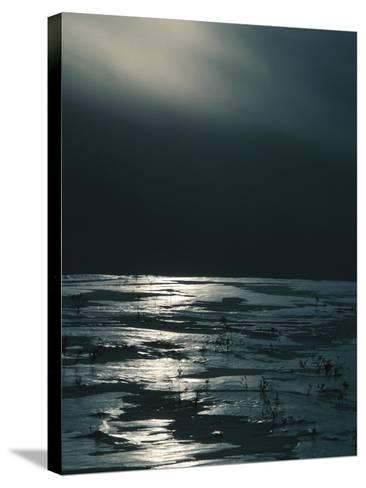 Moonlight Reflecting off Broken Ice--Stretched Canvas Print