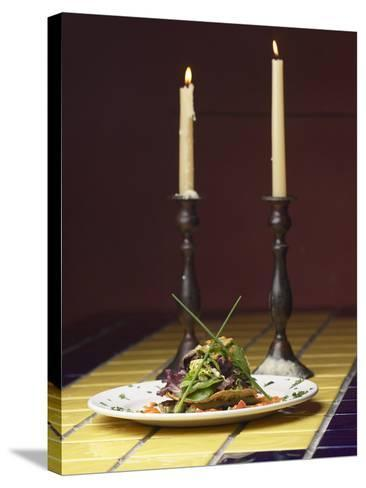 Romantic Gourmet Meal Beside Candles--Stretched Canvas Print