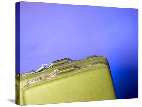 Two Green Vintage Suitcases with Travel Tags--Stretched Canvas Print