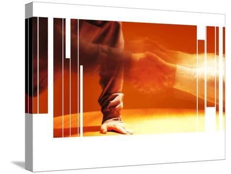 Blurry and Fragmented Image of a Handshake--Stretched Canvas Print