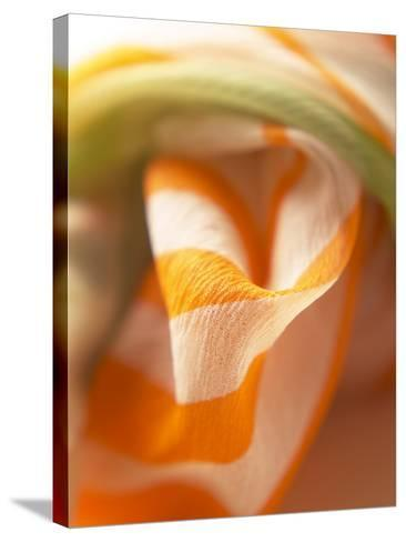 Orange and White Striped Material--Stretched Canvas Print
