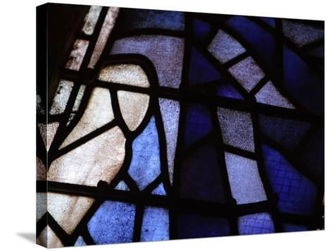 Close-up of Blue and White Panes of Stained Glass--Stretched Canvas Print