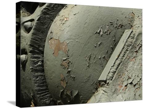 Close-up of Old Rusty Metal Machinery with Peeling Green Paint--Stretched Canvas Print