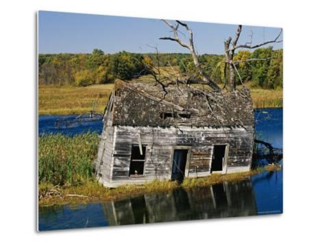 Marsh Reclaims an Abandoned Homestead-Raymond Gehman-Metal Print