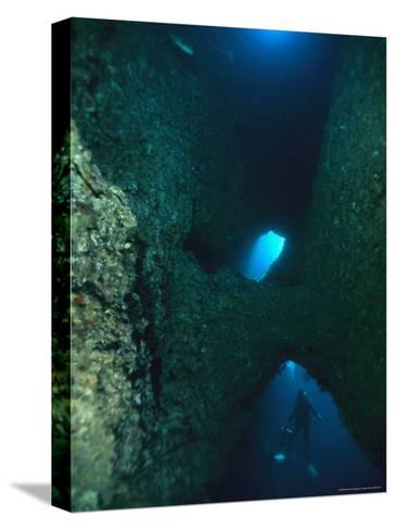 Diver Swimming Around Crevasses in a Reef Wall-Tim Laman-Stretched Canvas Print