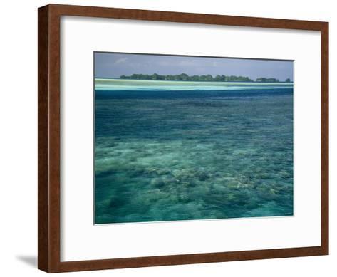Crystal Clear Blue Waters over a Polynesian Reef-Tim Laman-Framed Art Print