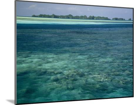 Crystal Clear Blue Waters over a Polynesian Reef-Tim Laman-Mounted Photographic Print
