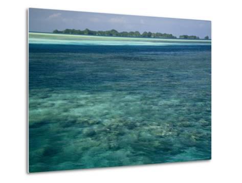 Crystal Clear Blue Waters over a Polynesian Reef-Tim Laman-Metal Print