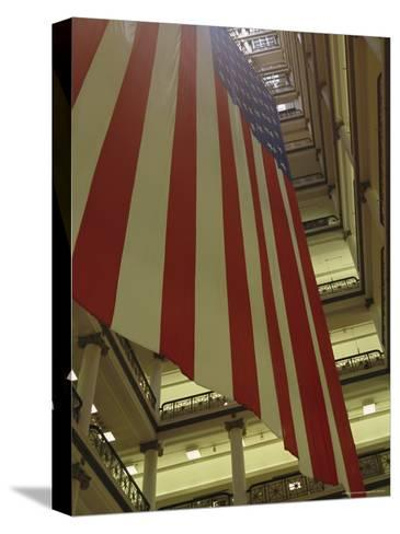 Enormous American Flag Hanging in Marshall Fields Department Store-Paul Damien-Stretched Canvas Print