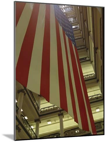 Enormous American Flag Hanging in Marshall Fields Department Store-Paul Damien-Mounted Photographic Print